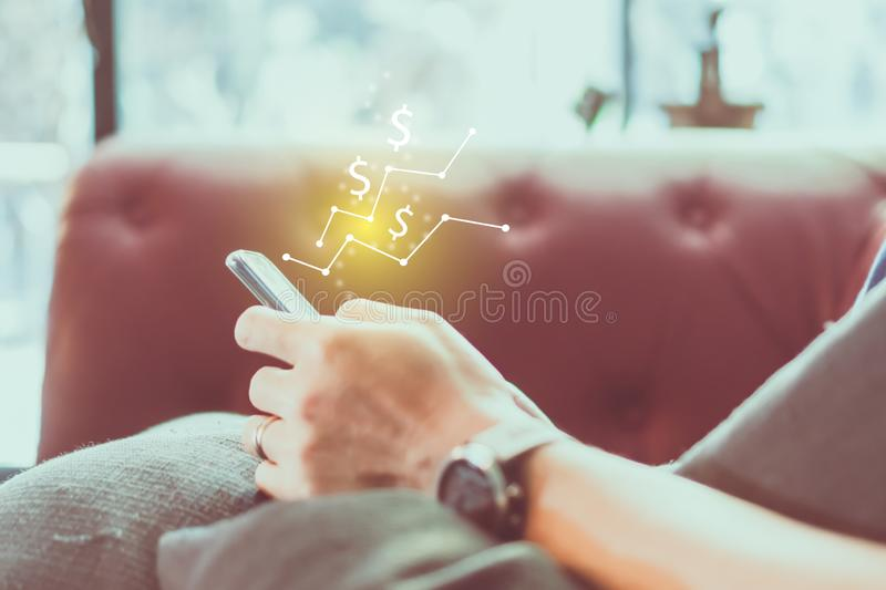Market stock graph icon screen of smartphone background. Financial business technology freedom dream life using internet freedom royalty free stock photos