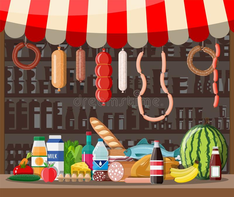Market store interior with goods. Big shopping mall. Interior store inside. Checkout counter, grocery, drinks, food, fruits, dairy products. Vector stock illustration