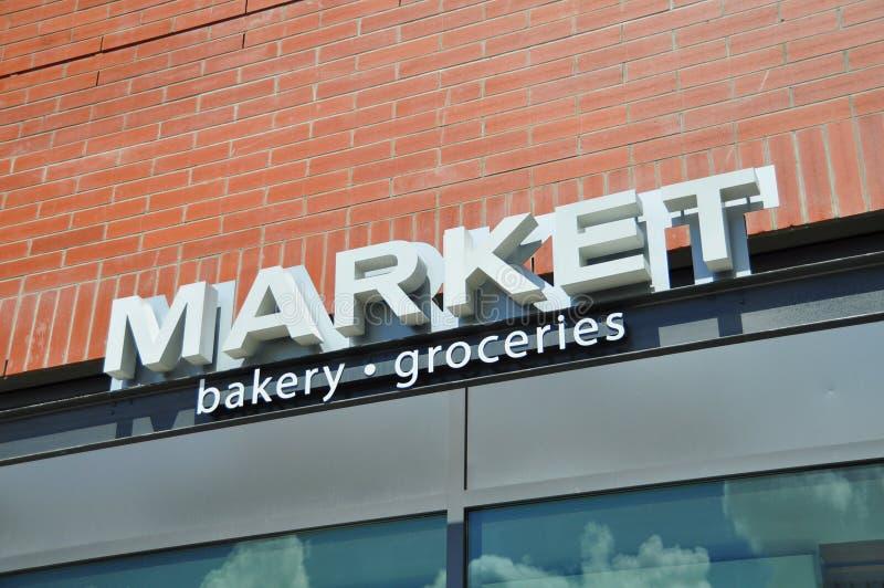 Market store signage stock image