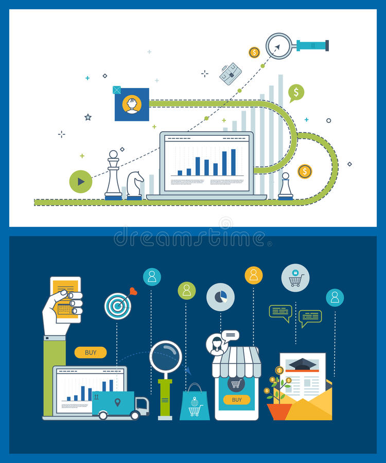 Market strategy analysis, marketing research, business analytics and planning concept royalty free illustration