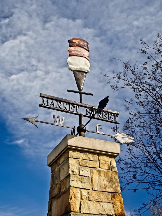Market Street Ice Cream Wind Vane. The Woodland TX USA - Jan 25, 2018 - Market Street Ice Cream Wind Vane stock photo