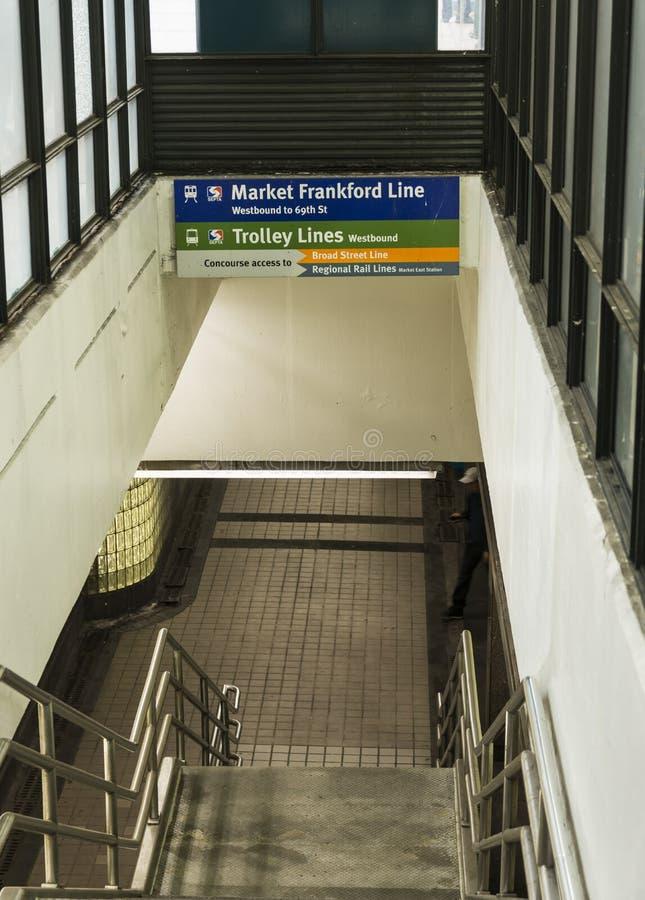 Market street subway enterance Philadelphia stock images