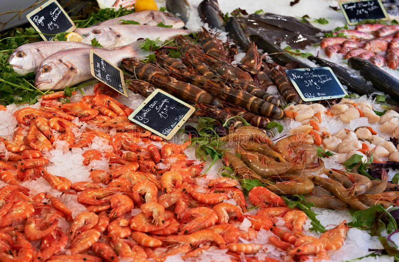 Download Market Table With Fish Anf Shrimps Stock Photo - Image: 16335458
