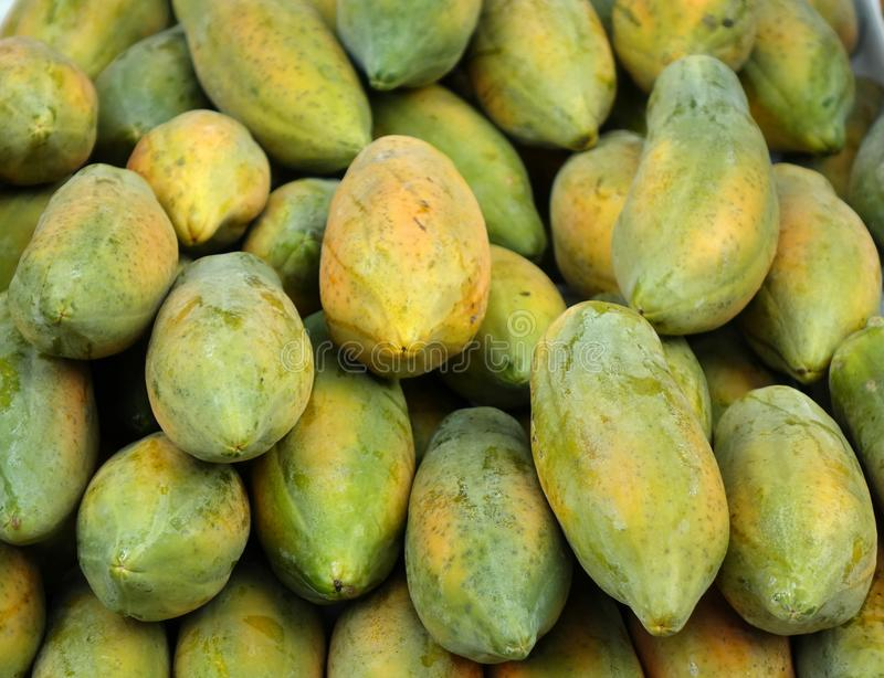 Fresh Papayas for Sale royalty free stock photo