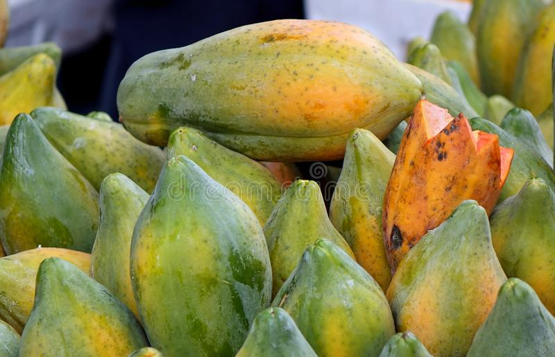 Fresh Papayas for Sale royalty free stock images
