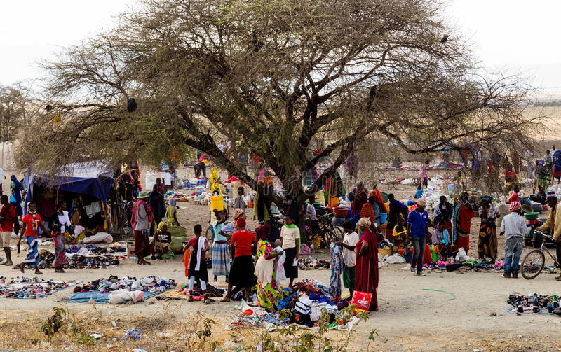 Market in Tanzania. Market in the street. This is in the neighbourhood of Arusha royalty free stock images