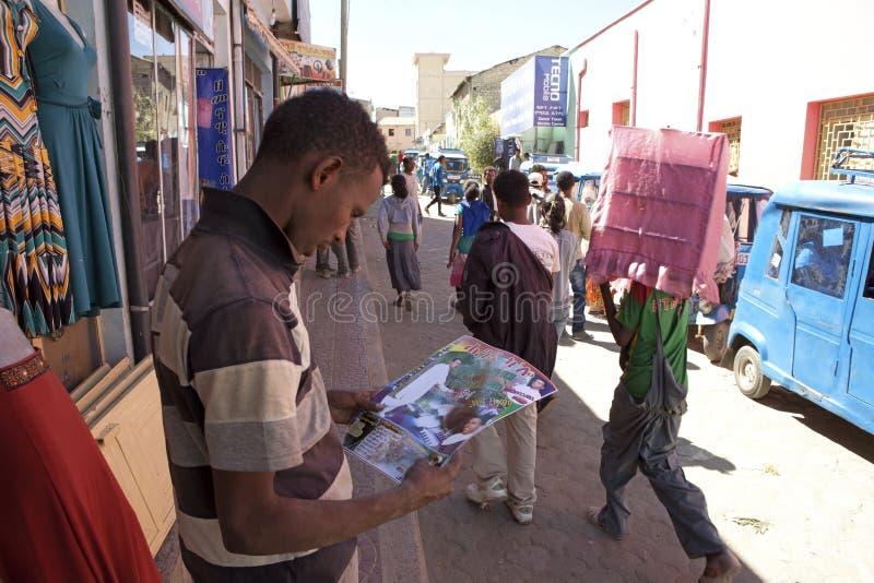 A market town Ethiopia stock image
