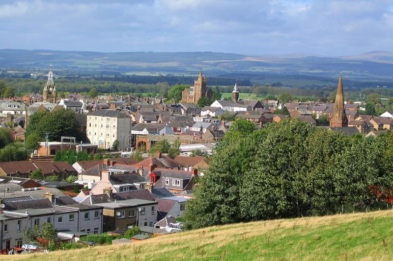 Overlooking the small Market Town of Lockerbie, Dumfries and Galloway, Scotland, Great Britain. The market town of Lockerbie is nestled in the rolling hills of royalty free stock photos