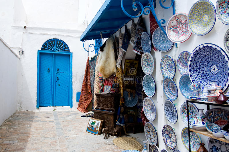 Market traditional souvenirs on the streets of Sidi Bou Said, Tu royalty free stock images