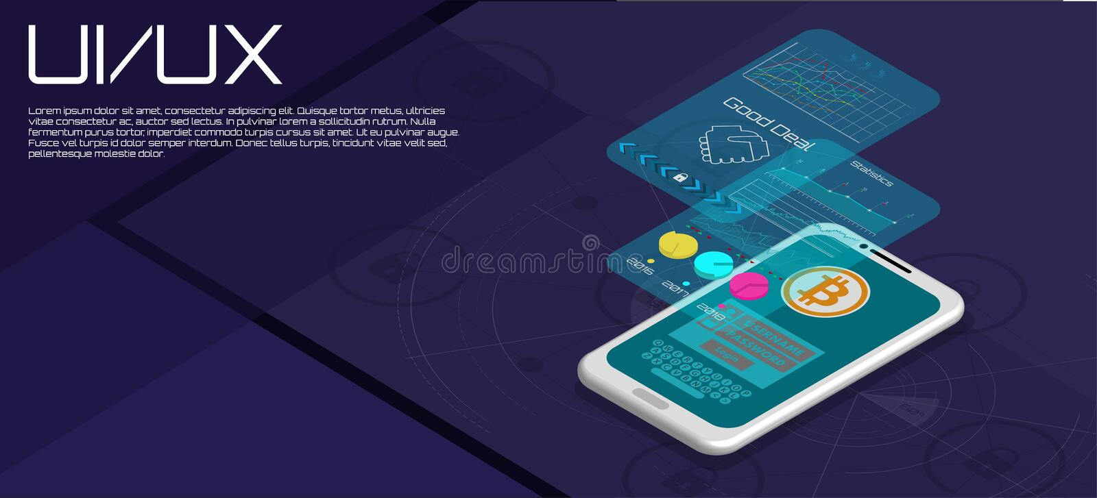 Market Trend Analysis on Smartphone With Graphs vector illustration