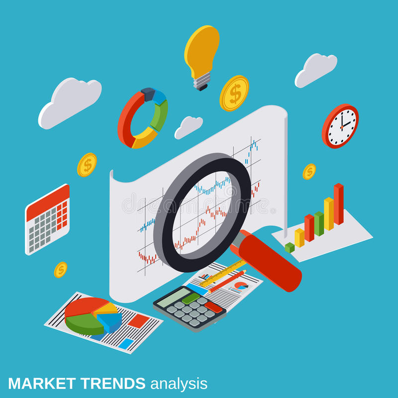 Market trends analysis, financial statistics, business report vector concept. Market trends analysis, financial statistics, business report flat isometric vector royalty free illustration