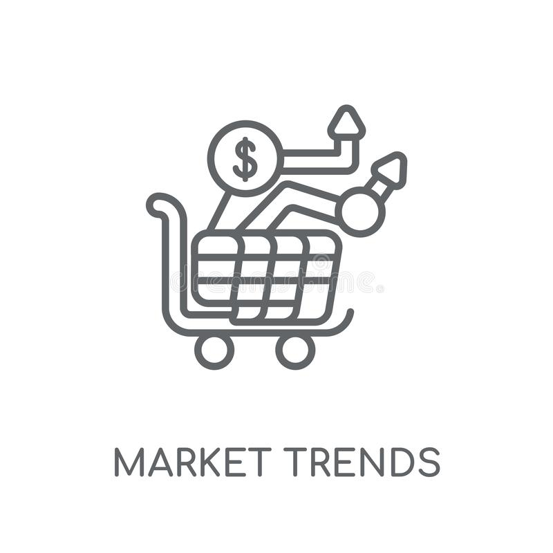 market trends linear icon. Modern outline market trends logo con stock illustration