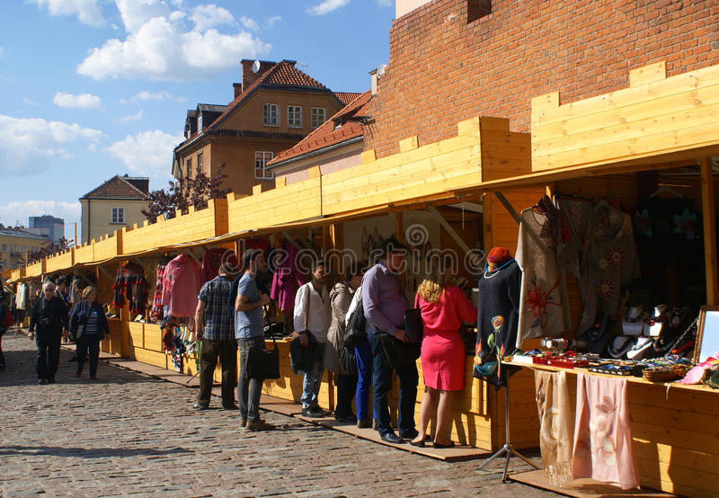 Market in Warsaw. Food and artisan market in Warsaw, Poland stock photography
