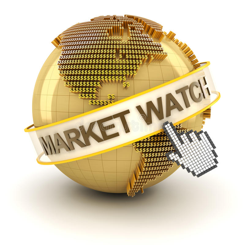 Market watch symbol with golden globe and hand vector illustration