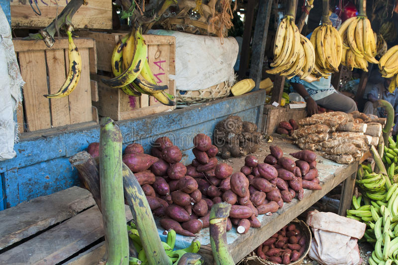 Market in Zanzibar. Market stall with vegetables in Stone Town, Zanzibar stock images