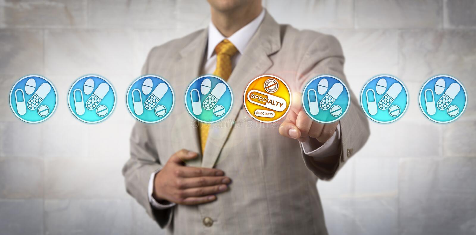 Marketer Selecting Specialty Drugs In Line-up. Unrecognizable pharma marketer selecting the only specialty drug icon in a line-up of non-specialty stock images