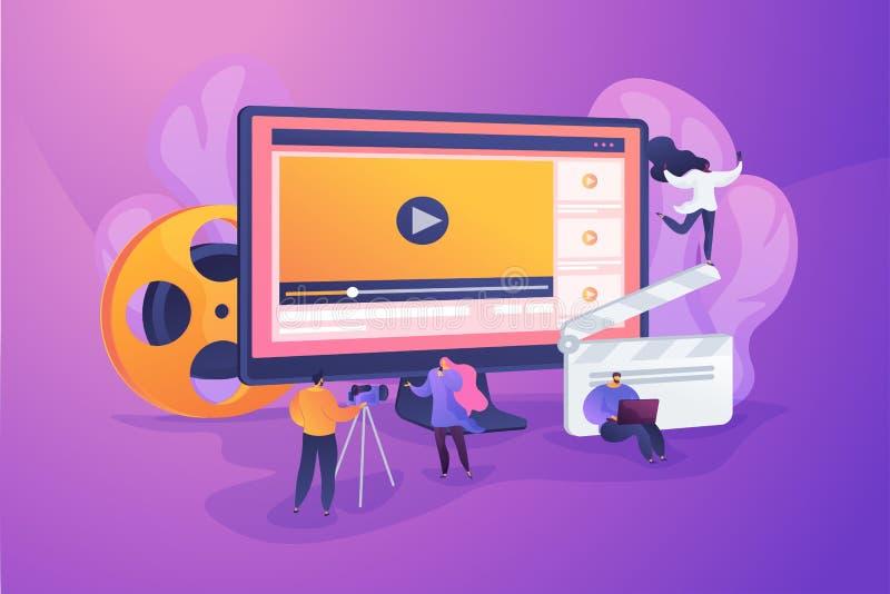Video content marketing concept vector illustration. stock illustration