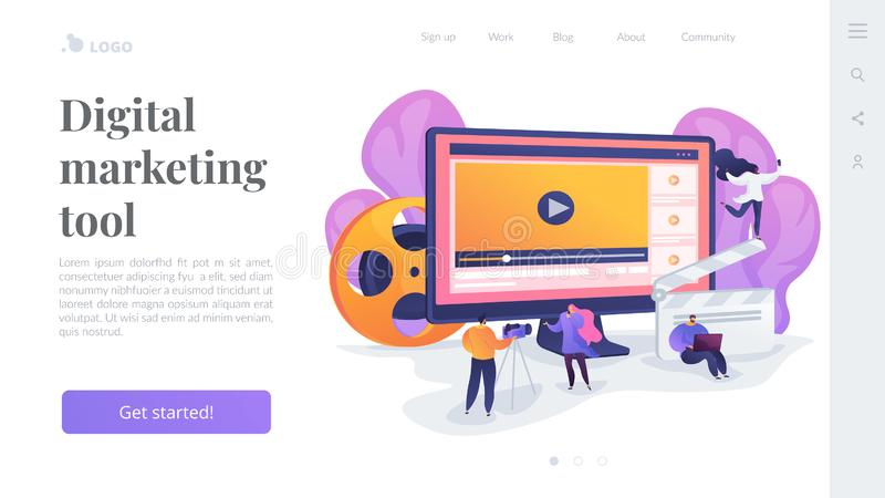 Video content marketing landing page template. royalty free illustration