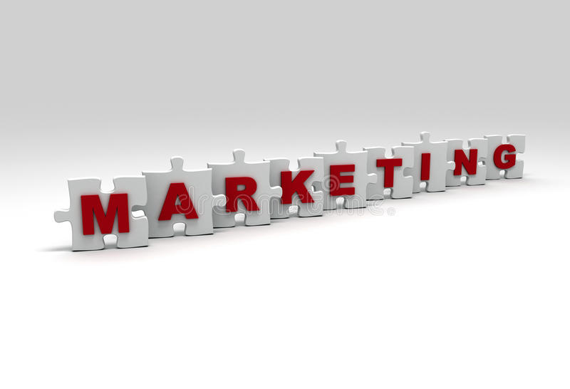 Marketing. Word on 3d puzzle pieces stock illustration