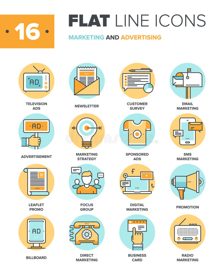 Marketing and Advertising. Abstract vector collection of flat line marketing and advertising icons. Elements for mobile and web applications vector illustration