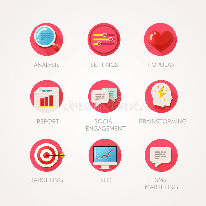 Marketing agency icons set. Modern flat colored illustrations. Web industry objects and marketing items related icons. royalty free illustration