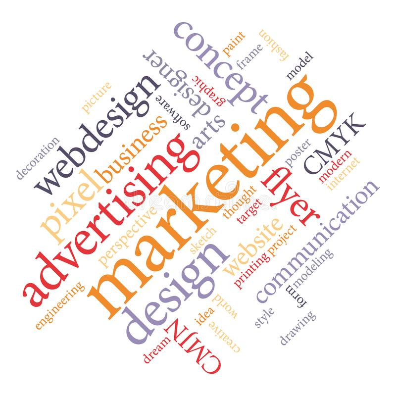 Marketing-Agenturdienstleistungen oder Grafikdesignerjob III stock abbildung