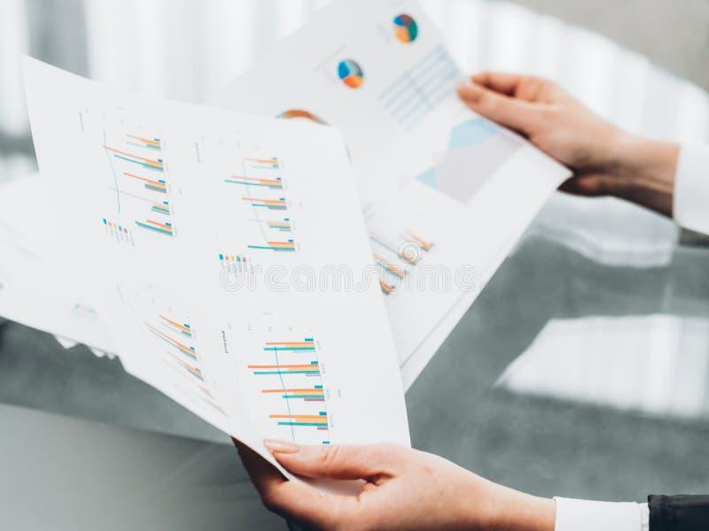 Marketing analysis successful business woman stock image