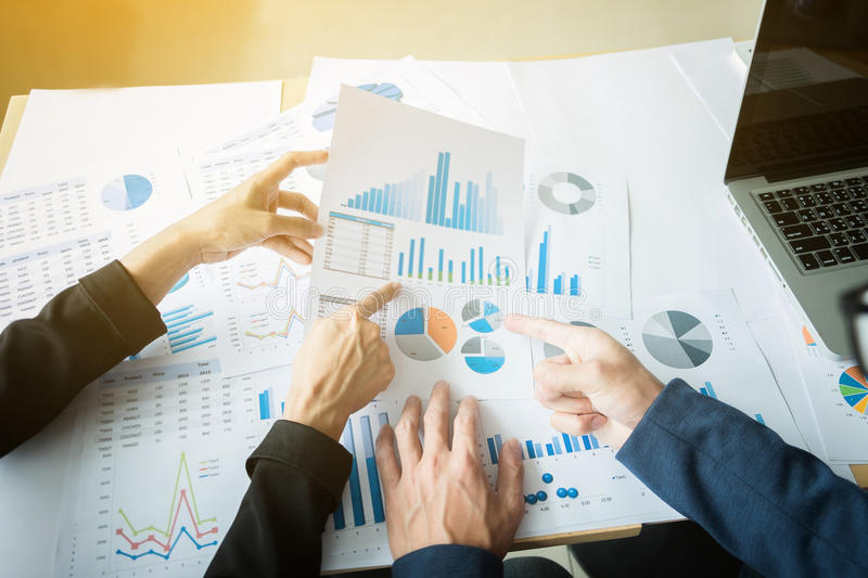Marketing analysis team meeting concept. Young businessman crew royalty free stock images