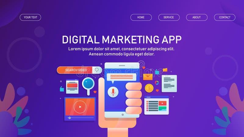 Marketing-Anwendung, bewegliches Appmarketing, digitale vermarktende Software, Netzfahnenvektor lizenzfreie abbildung