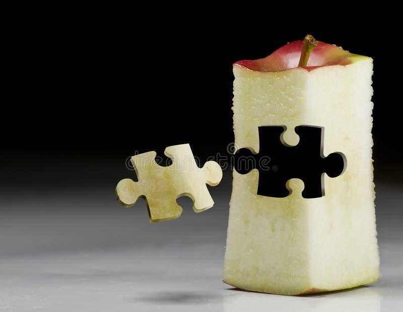 Marketing-Apple-Fruchtpuzzlespiel stockbilder