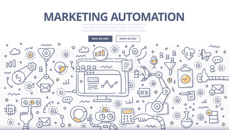 Marketing Automation Doodle Concept royalty free illustration
