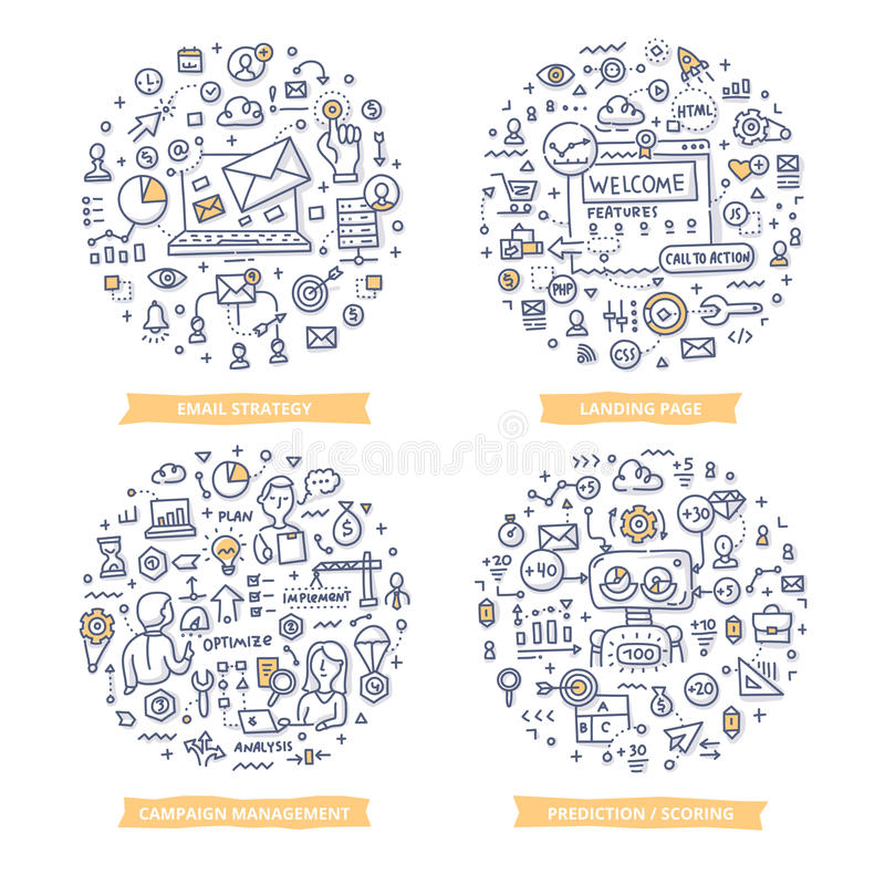 Marketing Automation Doodle Illustrations. Set 1 royalty free illustration
