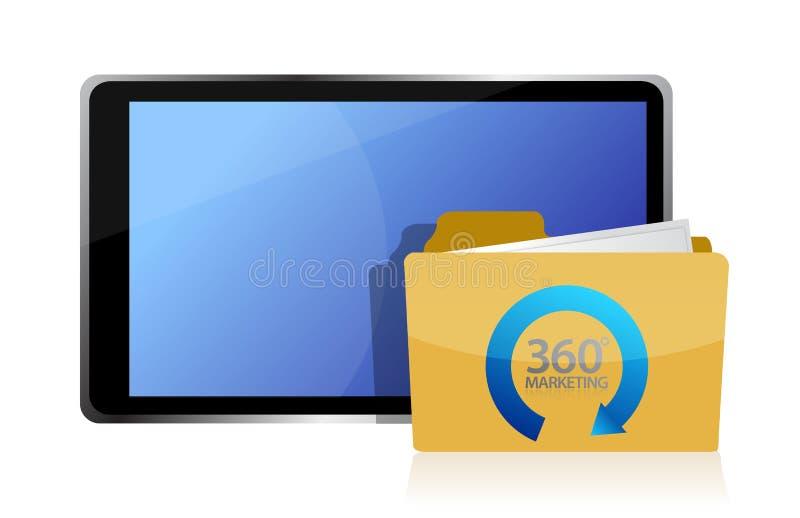 Marketing av 360 och av tableten royaltyfri illustrationer