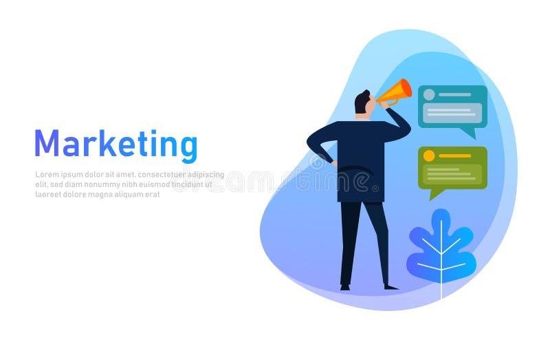 Marketing banner concept. Businessman communicates shouting loud holding a megaphone, expressing concept, idea for sales vector illustration