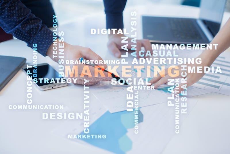 Marketing bedrijfsconcept op het virtuele scherm Woordenwolk royalty-vrije stock foto's