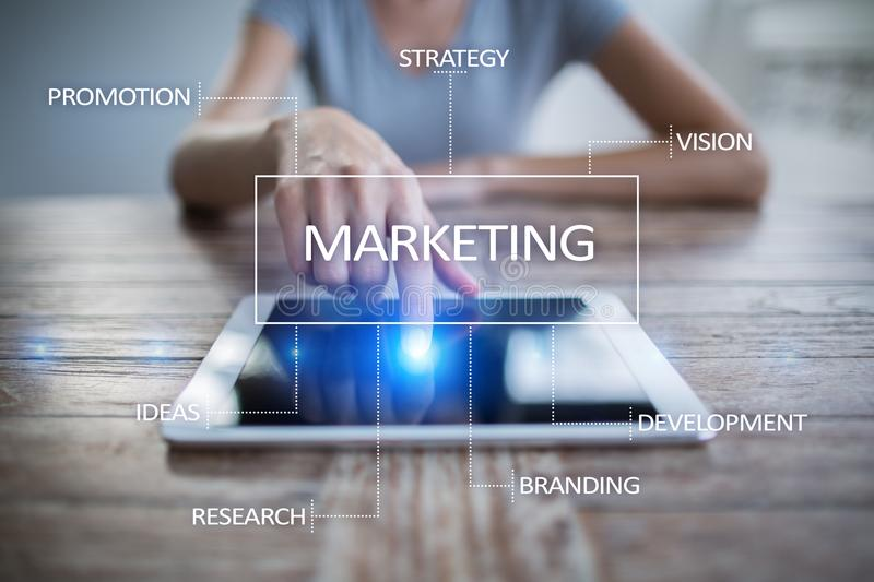 Marketing Business Concept On The Virtual Screen  Stock