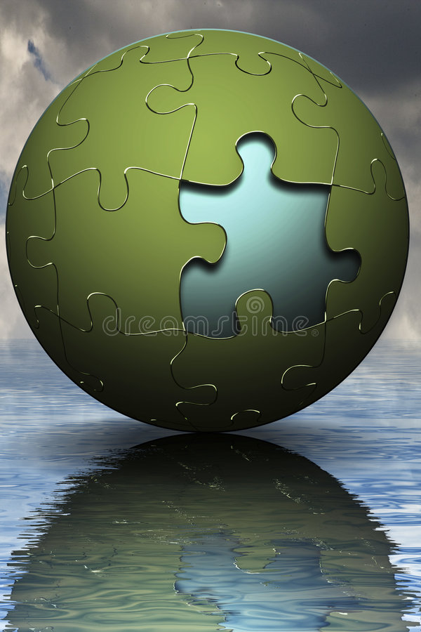 Marketing business sales. Business PUZZLE Globe over water with missing piece