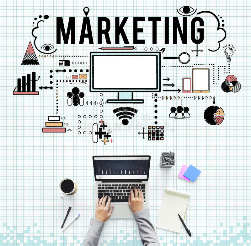 Marketing Business Strategy Analysing Icons Concept. Marketing Business Strategy Analysing Graphics Concept royalty free stock photography