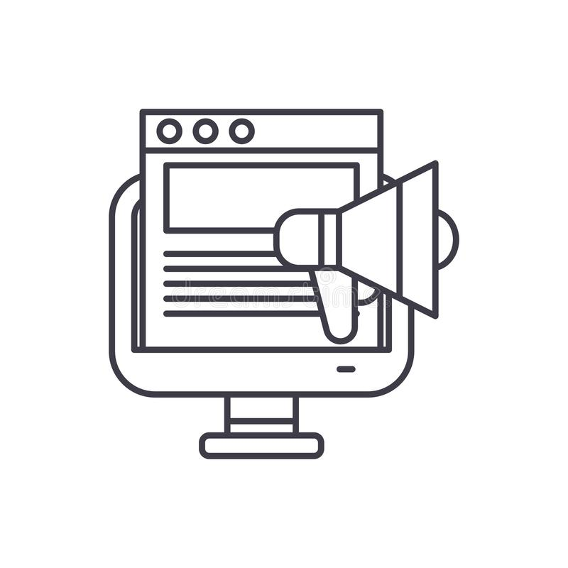 Marketing campaign line icon concept. Marketing campaign vector linear illustration, symbol, sign. Marketing campaign line icon concept. Marketing campaign stock illustration