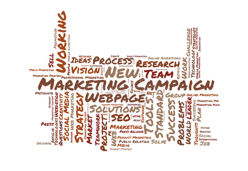 Marketing campaign word cloud vector illustration