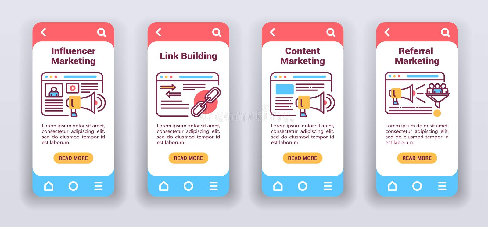 Marketing channels on mobile app onboarding screens. Flat icons, influencer, link building, content, referral marketing vector illustration