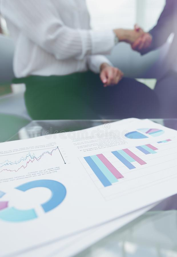 Marketing chart on the desktop. business background royalty free stock photo