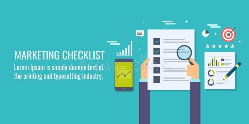 Marketing checklist, business adviser with marketing data , business analysis, goal concept.Flat design vector banner. royalty free illustration