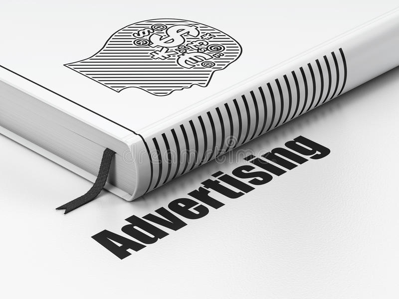Marketing concept: book Head With Finance Symbol, stock photography