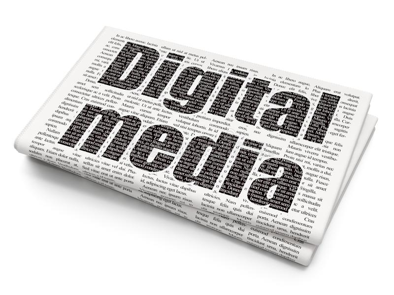 Marketing concept: Digital Media on Newspaper background. Marketing concept: Pixelated black text Digital Media on Newspaper background, 3D rendering stock image