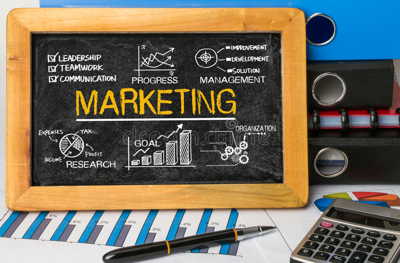 Marketing concept with financial elements royalty free stock images