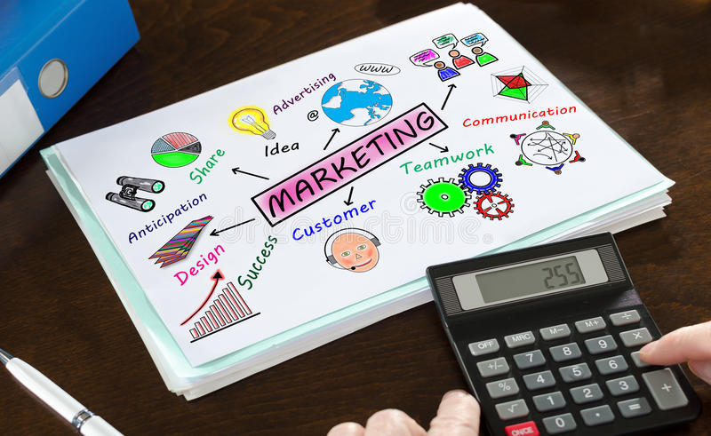 Marketing concept illustrated on a paper royalty free stock photo