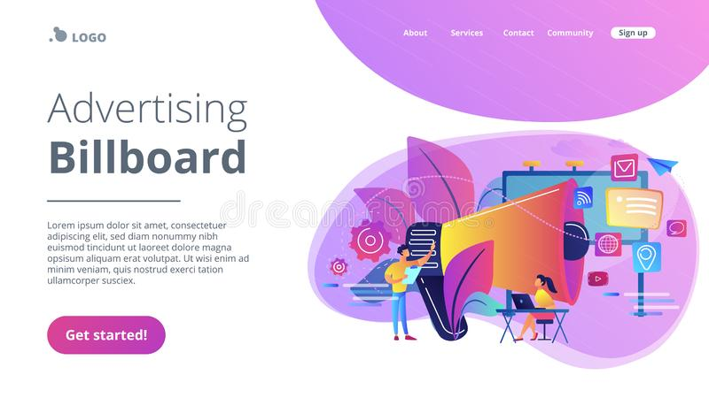 Marketing concept landing page. Marketing team work and huge megaphone with media icons. Marketing and branding, billboard and ad, marketing strategies concept stock illustration