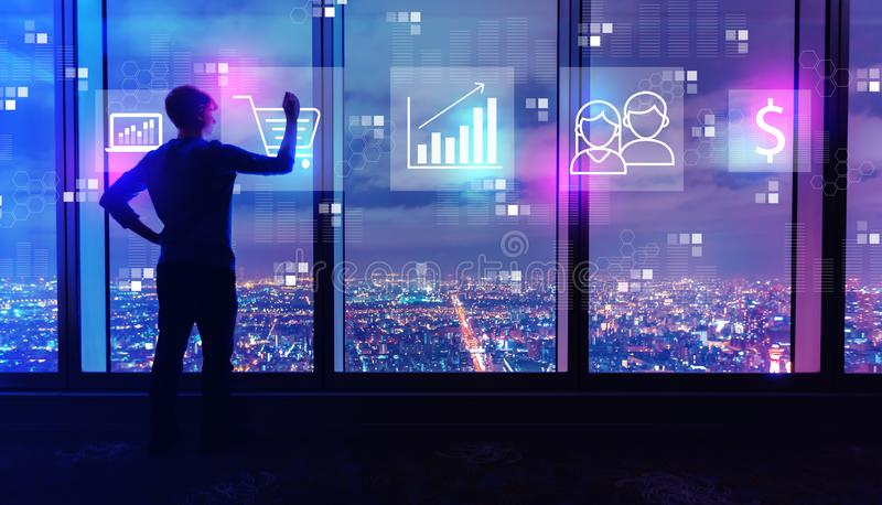 Marketing concept with man by large windows at night. Marketing concept with man writing on large windows high above a sprawling city at night vector illustration