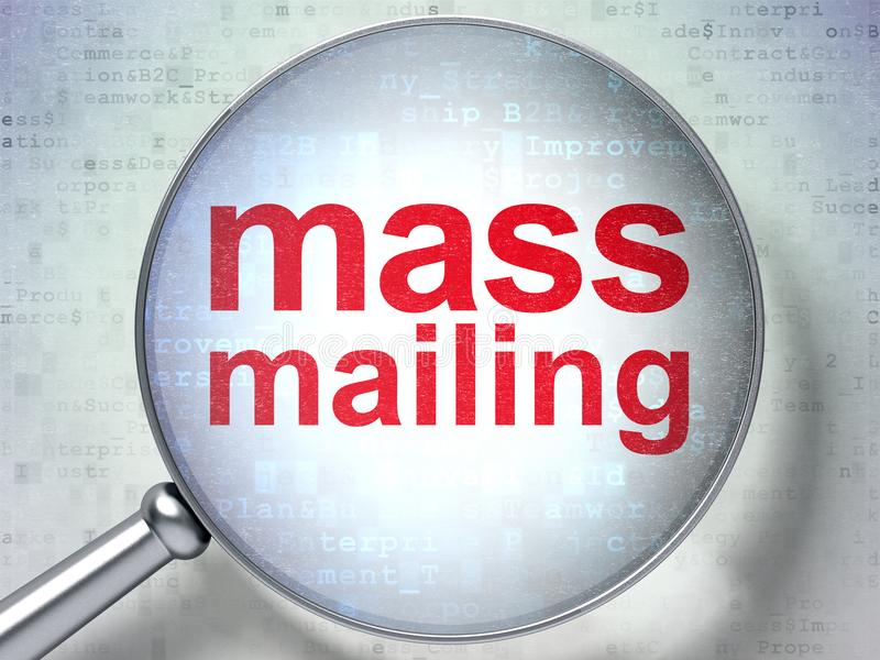 Marketing concept: Mass Mailing with optical glass. Marketing concept: magnifying optical glass with words Mass Mailing on digital background, 3D rendering royalty free illustration